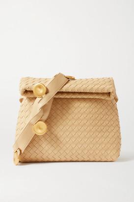 Bottega Veneta Messenger Embellished Intrecciato Leather Shoulder Bag - Beige