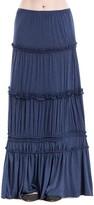 Max Studio Tiered Heathered Jersey Long Skirt