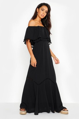 boohoo Off The Shoulder Tassel Maxi Dress