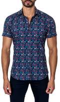 Jared Lang Woven Heart Print Trim Fit Shirt