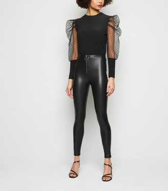 New Look Parisian Leather-Look Zip Front Trousers