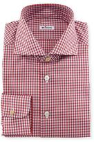 Kiton Box-Check Woven Dress Shirt, Red