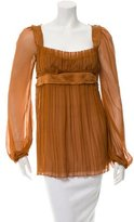 Alberta Ferretti Silk Pleat-Accented Top