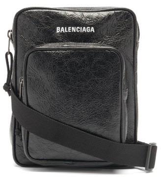 Balenciaga Explorer Crinkled-leather Cross-body Pouch - Black
