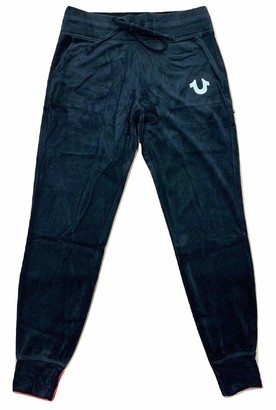 True Religion Women's Tall Size Crystal Slim fit Velour Jogger Sweatpant