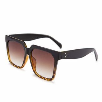 FEISEDY Womens Oversize Square Boyfriend Style Horned Rim Thick Plastic Sunglasses B2585