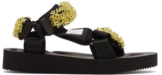 Cecilie Bahnsen X Suicoke Maria Beaded Velcro-strap Sandals - Womens - Black Yellow