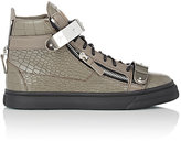 Giuseppe Zanotti MEN'S PLATED-STRAP DOUBLE-ZIP SNEAKERS-DARK BROWN SIZE 7 M