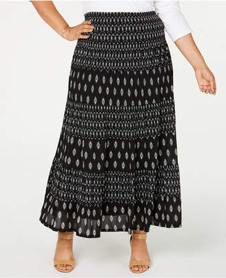 Style&Co. Style & Co Plus Size Printed Tiered Mesh Maxi Skirt