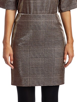 Akris Punto Metallic Lurex Glen Check Mini Skirt