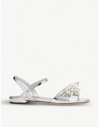 Miu Miu Embellished mirrored leather sandals