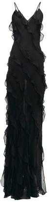 Rat & Boa - Selena Ruffled Chiffon Maxi Dress - Womens - Black