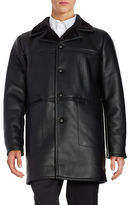 Karl Lagerfeld Shepa-Lined Leatherette Car Coat