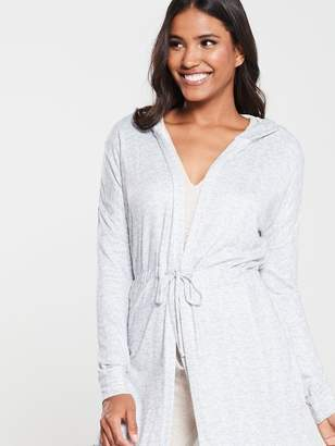 Very Tie Waist Cardi Robe - Grey/Marl