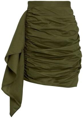 Rhode Resort Hannah Ruched Cotton Mini Skirt