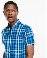 Express fitted short sleeve plaid shirt