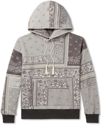 Amiri Oversized Bandana-Print Loopback Cotton-Jersey Hoodie - Men - Gray