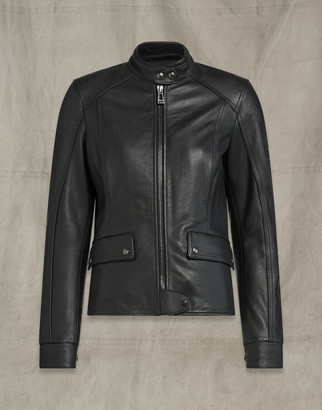 Belstaff FAIRING LEATHER MOTORCYCLE JACKET Black UK 6 /