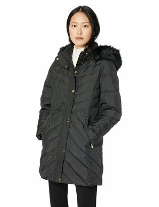 Anne Klein Women's Down Coat with Faux Fur Trimmed Hood
