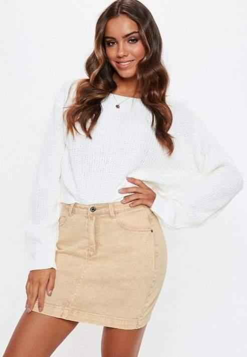 Sand Superstretch Denim Skirt