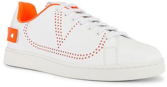 Valentino Low Top Sneaker in White & Orange   FWRD
