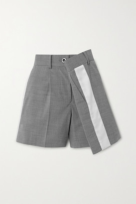 Sacai Wrap-effect Striped Twill Shorts - Gray