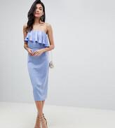 Asos Tall DESIGN Tall soft bandeau crop top pencil dress