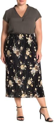Everleigh Floral Plisse Satin Midi Skirt (Plus Size)