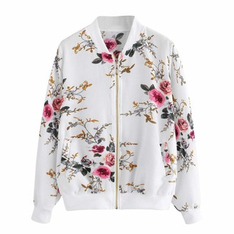 Esailq Coat Women Bomber Jacket ESAILQ Womens Retro Floral Printing Zipper Up Coat Long Sleeve V-Neck Casual Outwear with Pocket(White XXL)