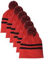 Clementine Apparel Men's CLM-AL-TT122-Striped Pom Beanie (6 PK)