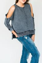 Anama Distressed Open-Shoulder Top