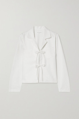 STILL HERE Havana Tie-front Cotton-twill Shirt - White