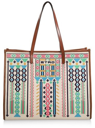 Etro Embroidered Globetrotter Tote