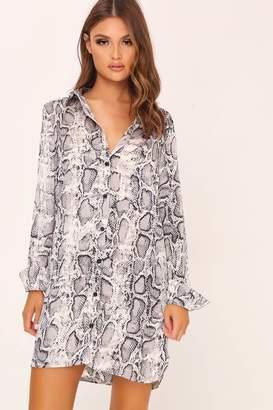 I SAW IT FIRST Grey Snake Print Oversized Satin Shirt Dress