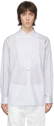 Junya Watanabe White and Blue Striped Shirt