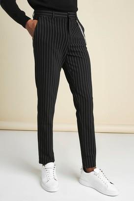 boohoo Mens Black Stripe Chain Detail Smart Trouser, Black
