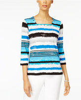 Alfred Dunner Petite Embellished Watercolor-Striped Top