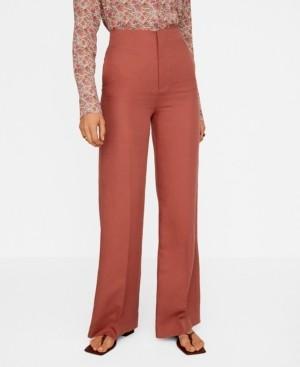 MANGO Linen High Waist Pants