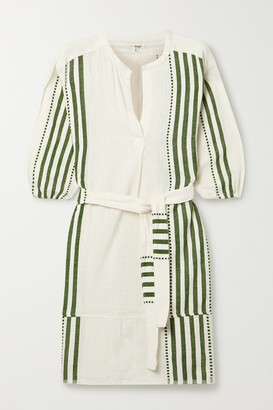 Lemlem Eshe Belted Striped Cotton-gauze Mini Dress - Green