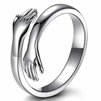 Moent Couple Ring Opening Adjustable Ring Jewelry Fashionable Love Embracing Valentine's Day (Silver Women)