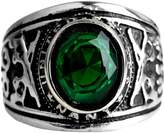 CARTER PAUL Men's Stainless Steel Inlaid Green/Black/Blue Gemstone Vintage Gold Rings