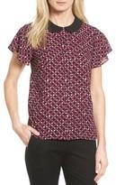 CeCe Women's Contrast Collar Print Blouse
