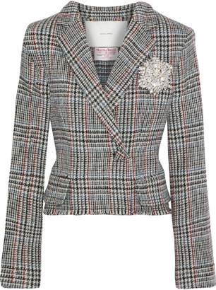 ADAM by Adam Lippes Cropped Embellished Houndstooth Wool-tweed Jacket