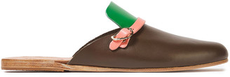 Ancient Greek Sandals Color-block Leather Slippers