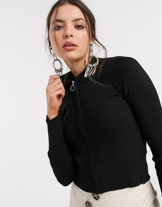 Bershka knitted polo top in black