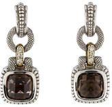 Judith Ripka Smoky Quartz & Diamond Drop Earrings