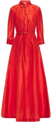 Oscar de la Renta Belted Silk-taffeta Gown