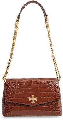 Tory Burch Small Kira Croc Embossed Leather Convertible Crossbody Bag