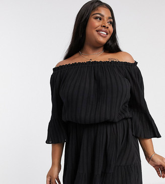 ASOS DESIGN Curve off shoulder tiered mini sundress in black