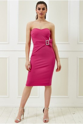 Goddiva Vicky Pattison Cerise Buckle Bandeau Midi Dress